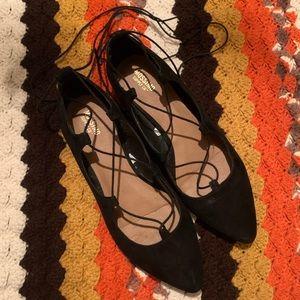 Classic Black Romantic Lace Up Almond Toe Flats 7